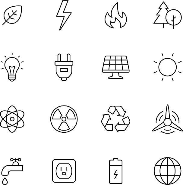 экологии и энергии значки - lightning stock illustrations