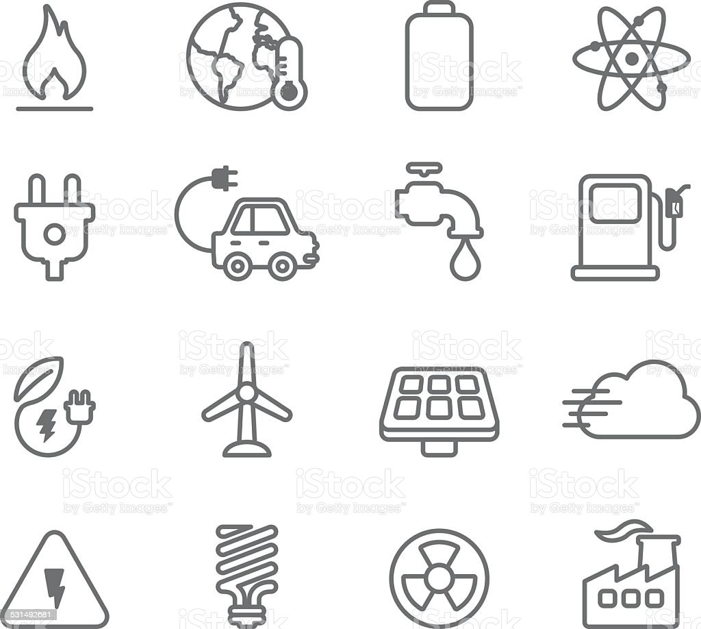Ecology and Enviromental Conservation - Simple Icons vector art illustration