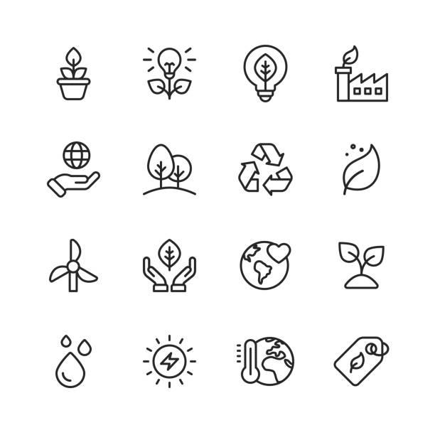 생태 및 환경 선 아이콘입니다. 편집 가능한 스트로크입니다. 픽셀 완벽한. 모바일 및 웹용. 잎, 생태, 환경, 전구, 숲, 녹색 에너지, 농업 등의 아이콘이 포함되어 있습니다. - 상징 stock illustrations