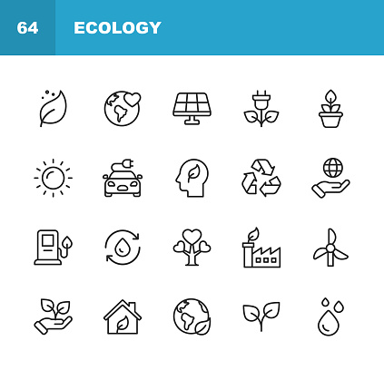 Ecology and Environment Line Icons. Editable Stroke. Pixel Perfect. For Mobile and Web. Contains such icons as Leaf, Ecology, Environment, Lightbulb, Forest, Green Energy, Agriculture, Water, Climate Change, Recycling.