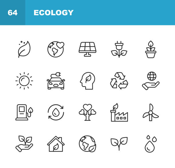 Ecology and Environment Line Icons. Editable Stroke. Pixel Perfect. For Mobile and Web. Contains such icons as Leaf, Ecology, Environment, Lightbulb, Forest, Green Energy, Agriculture, Water, Climate Change, Recycling. 20 Ecology and Environment  Outline Icons. environment stock illustrations