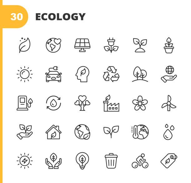 생태 및 환경 선 아이콘입니다. 편집 가능한 스트로크입니다. 픽셀 완벽한. 모바일 및 웹용. 잎, 생태학, 환경, 전구, 숲, 녹색 에너지, 농업, 물, 기후 변화, 재활용, 전기 자동차, 태양 에너지와 � - 상징 stock illustrations