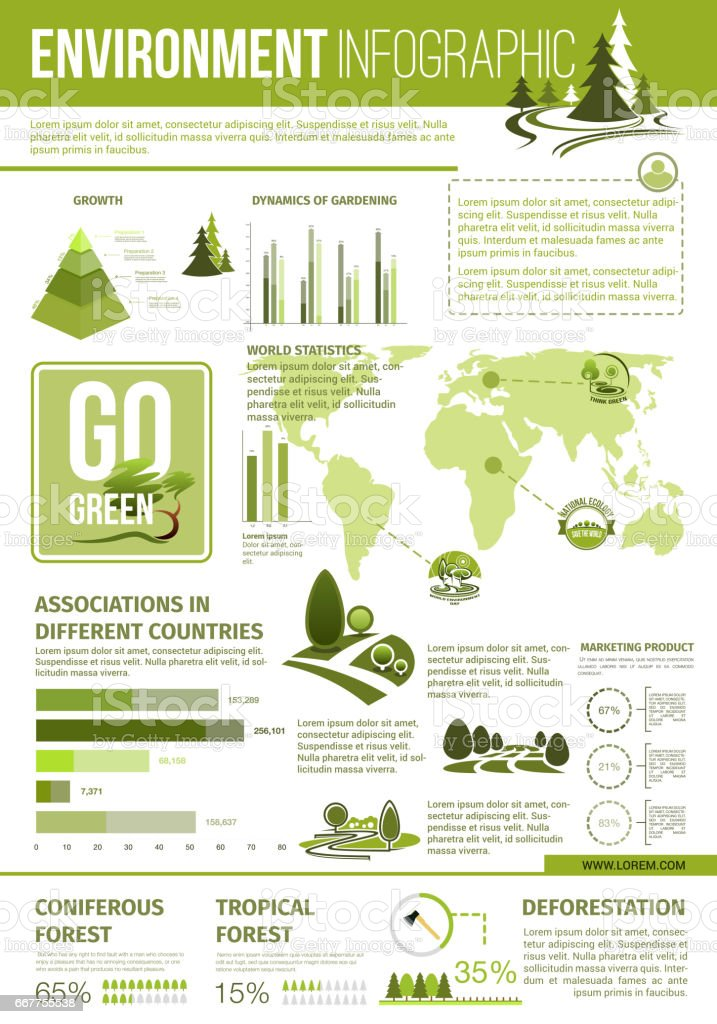 Ecology and environment protection infographics stock for Facts about going green