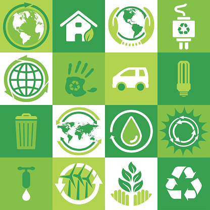 Ecology and environment square icons set