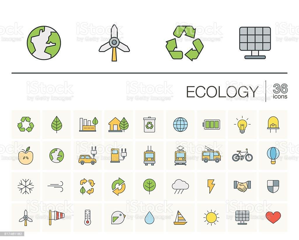 L'écologie et environnement couleur icônes vectorielles - Illustration vectorielle