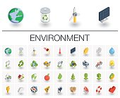 Ecology and environmental isometric icons. 3d vector