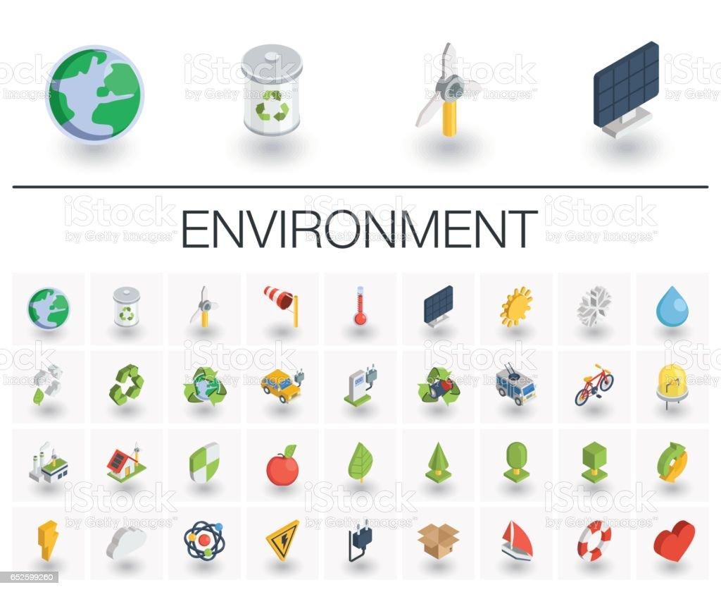 Ökologie und Umwelt isometrische Symbole. 3D Vektor – Vektorgrafik