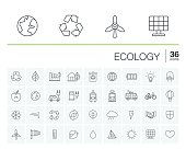 Vector thin line icons set and graphic design elements. Illustration with ecology outline symbols. Eco, bio, environmental, wind power, recycle linear pictogram