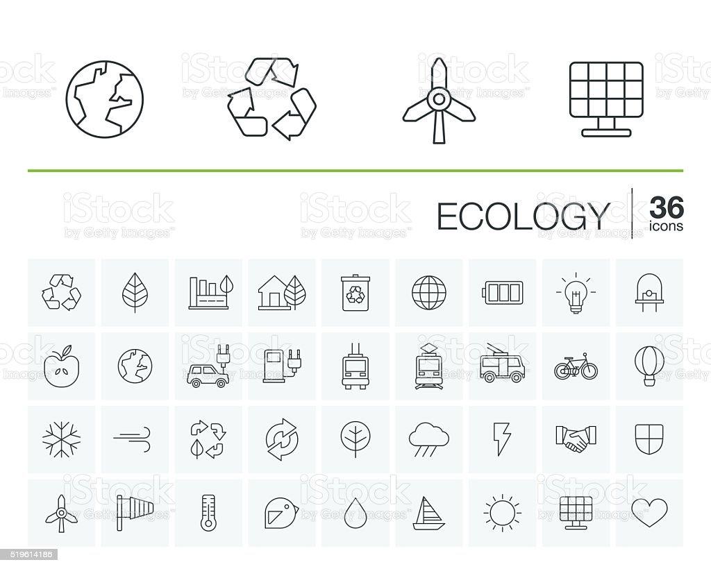 Vecteur des icônes de l'écologie et de l'environnement - Illustration vectorielle