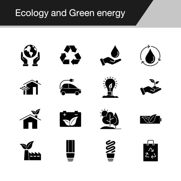 illustrazioni stock, clip art, cartoni animati e icone di tendenza di ecology and green energy icons. design for presentation, graphic design, mobile application, web design, infographics. vector illustration. - climate change