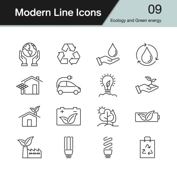 ecology and green energy icons. modern line design set 9. - sustainability stock illustrations