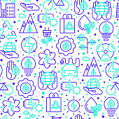 Ecology and green energy seamless pattern with thin bicolor line icons for environmental, recycling, renewable energy, nature. Vector illustration for banner, web page, print media.