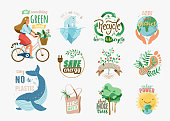 Ecology and recycle quotes set. Save environment vector illustration in flat cartoon style with earth, girl on bike, nature plant, whale, polar bear. Slogan phrase for green eco friendly lifestyle.