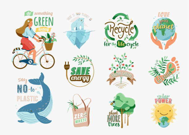 Ecology and recycle quotes set. Save environment vector illustration in flat cartoon style with earth, girl on bike, nature plant, whale, polar bear. Slogan phrase for green eco friendly lifestyle vector art illustration