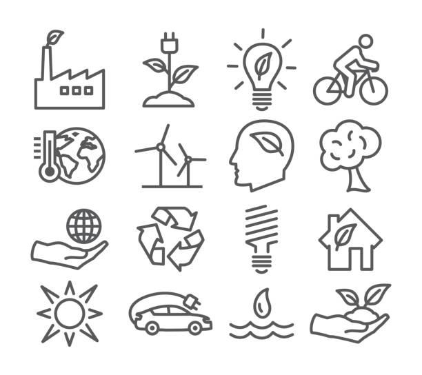 L'écologie et le recyclage des icônes de la ligne - Illustration vectorielle