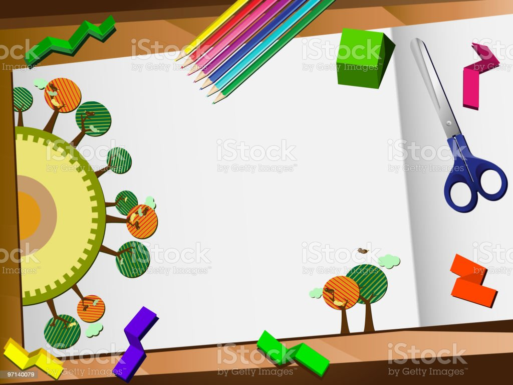 Ecology Art Class Desk vector art illustration