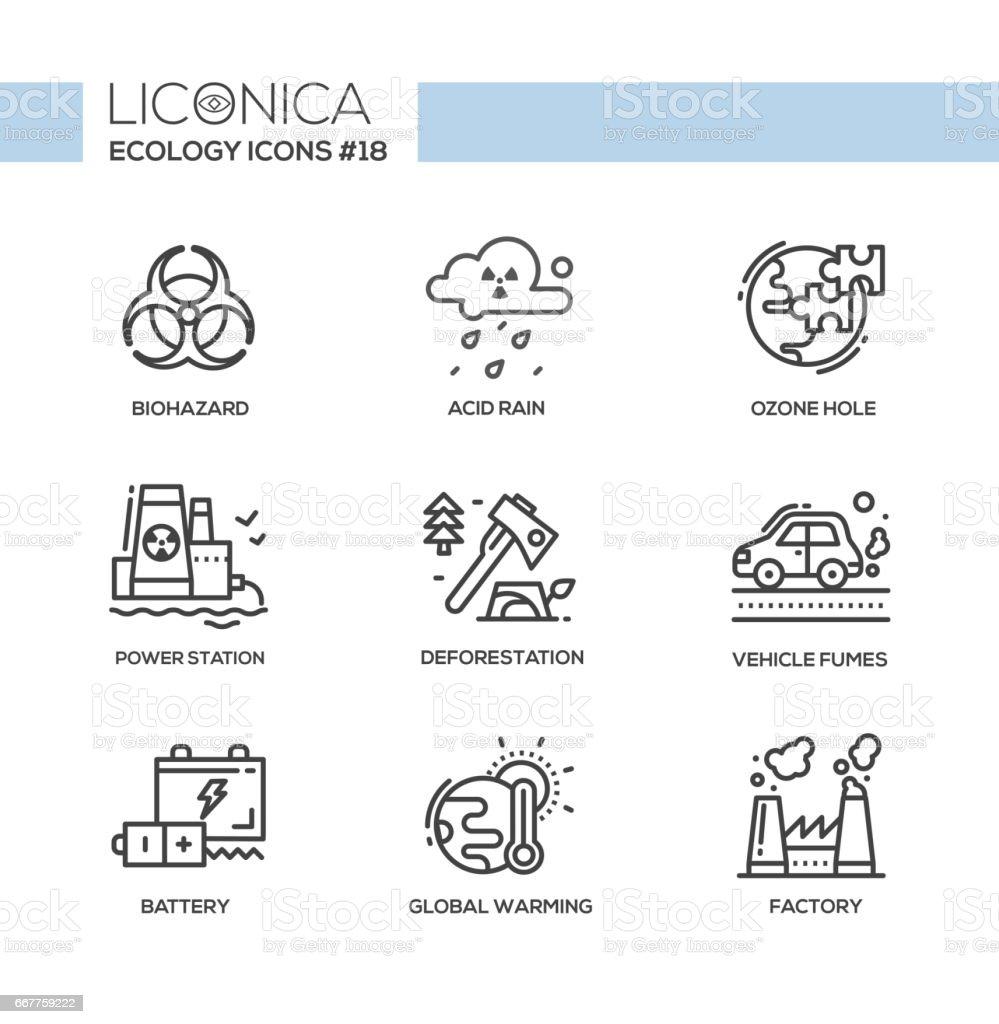 Ecology - black and white modern single line icons set vector art illustration