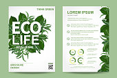 Earth day brochure and Background. ECO friendly Ecology concept. realistic tree leaves and simple green design Vector illustration.