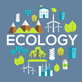 Ecology circle infographics template concept. Icons for your product or design, web and mobile applications. Vector flat with long shadow illustration on blue background.
