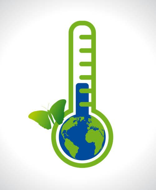 stockillustraties, clipart, cartoons en iconen met ecologie klimaatverandering aarde binnen thermometer met mooie groene vlinder icoon - klimaat