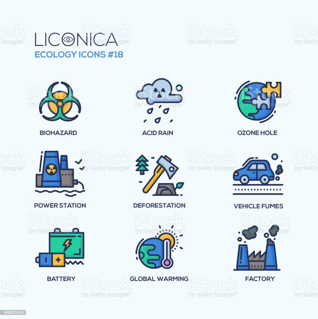Ecology - coloured modern single line icons set vector art illustration