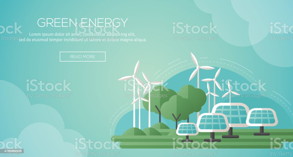 Ecology Concept Banner Template in Flat Design. vector art illustration