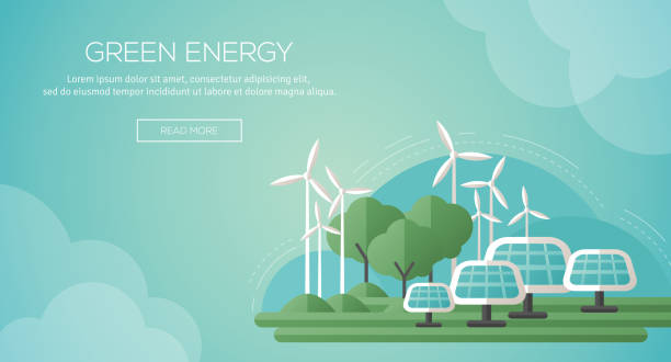 Ecology Concept Banner Template in Flat Design. Ecology Concept Banner Template in Flat Design. Vector Illustration. Solar Panels and Wind Turbines - Green Energy Technology. Ecology, Environment and Pollution. Save the Earth. Think Green. sustainable energy stock illustrations