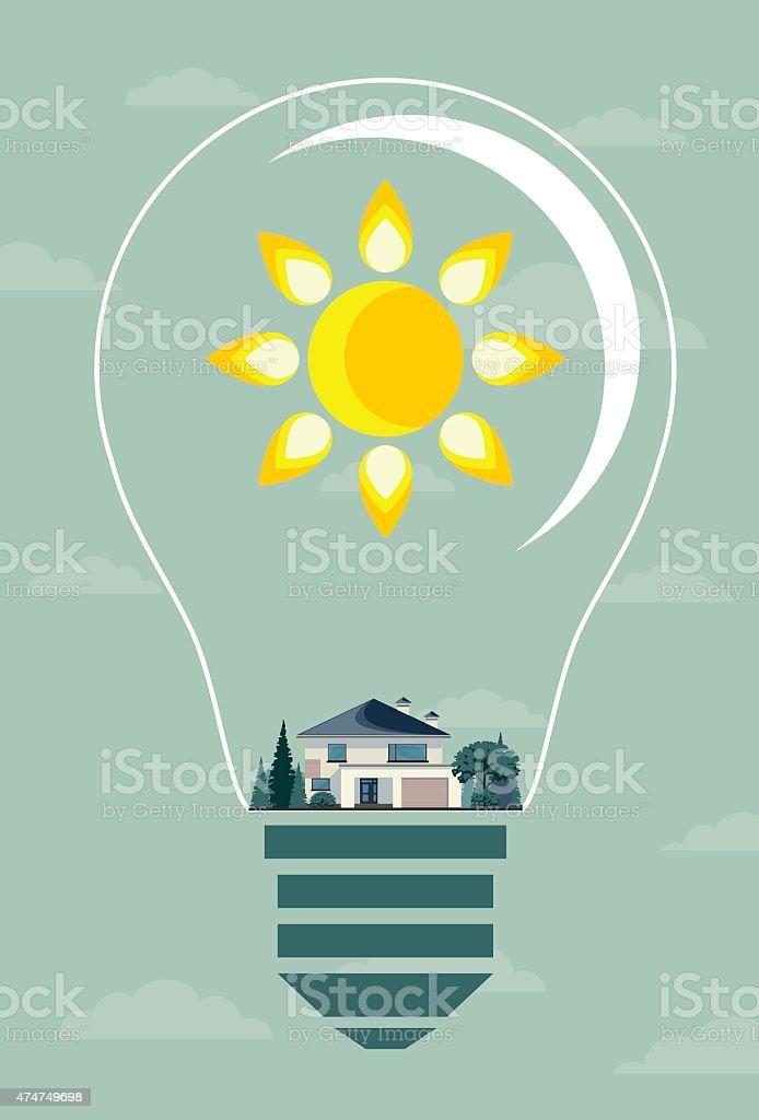 Écologie concept.   Eco maison et arbres de l'ampoule - Illustration vectorielle