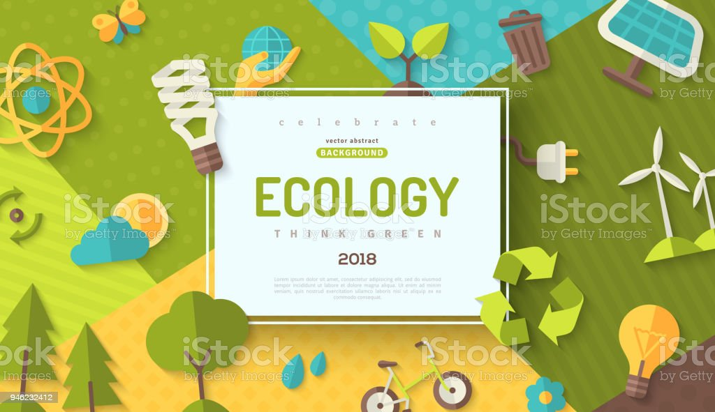 Ecology concept frame vector art illustration