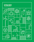 Ecology Concept. Geometric Retro Style Banner and Poster Concept with Ecology Line Icons