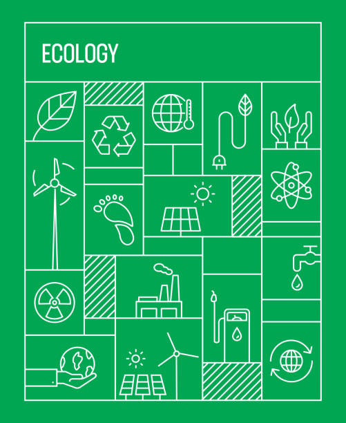 ecology concept. geometric retro style banner and poster concept with ecology line icons - sustainability stock illustrations