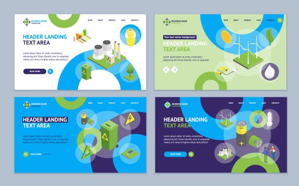 ecology concept landung web page template set 3d isometric view. vektor - klimaschutz stock-grafiken, -clipart, -cartoons und -symbole