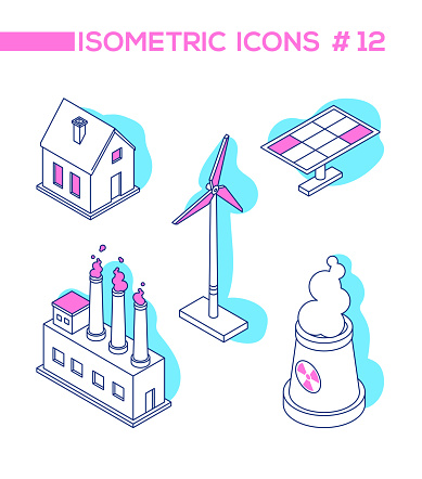 Ecology concept - line design style isometric objects