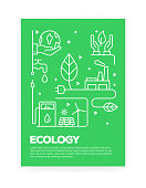 Ecology Concept Line Style Cover Design for Annual Report, Flyer, Brochure.