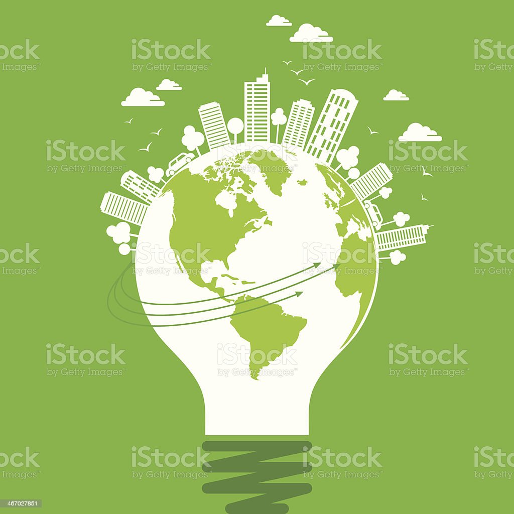 ecology concept - save earth, energy vector art illustration