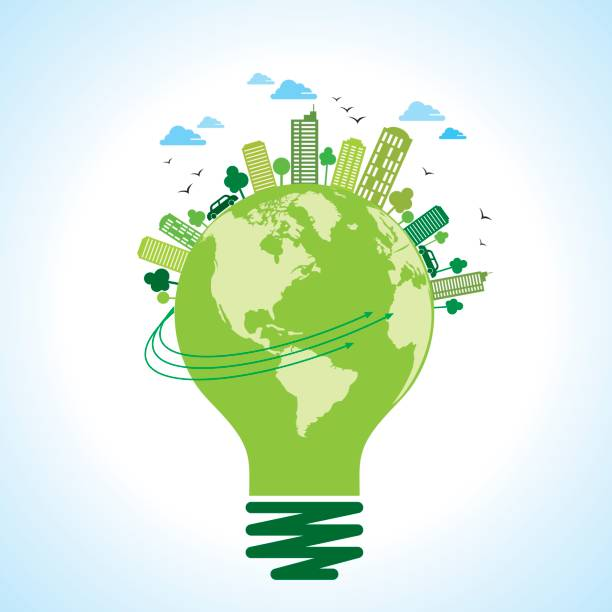 ökologie-konzept-sparen erde, energie - klimaschutz stock-grafiken, -clipart, -cartoons und -symbole