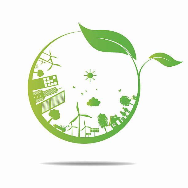 ecology concept. сохранить мира - ущерб окружающей среде stock illustrations