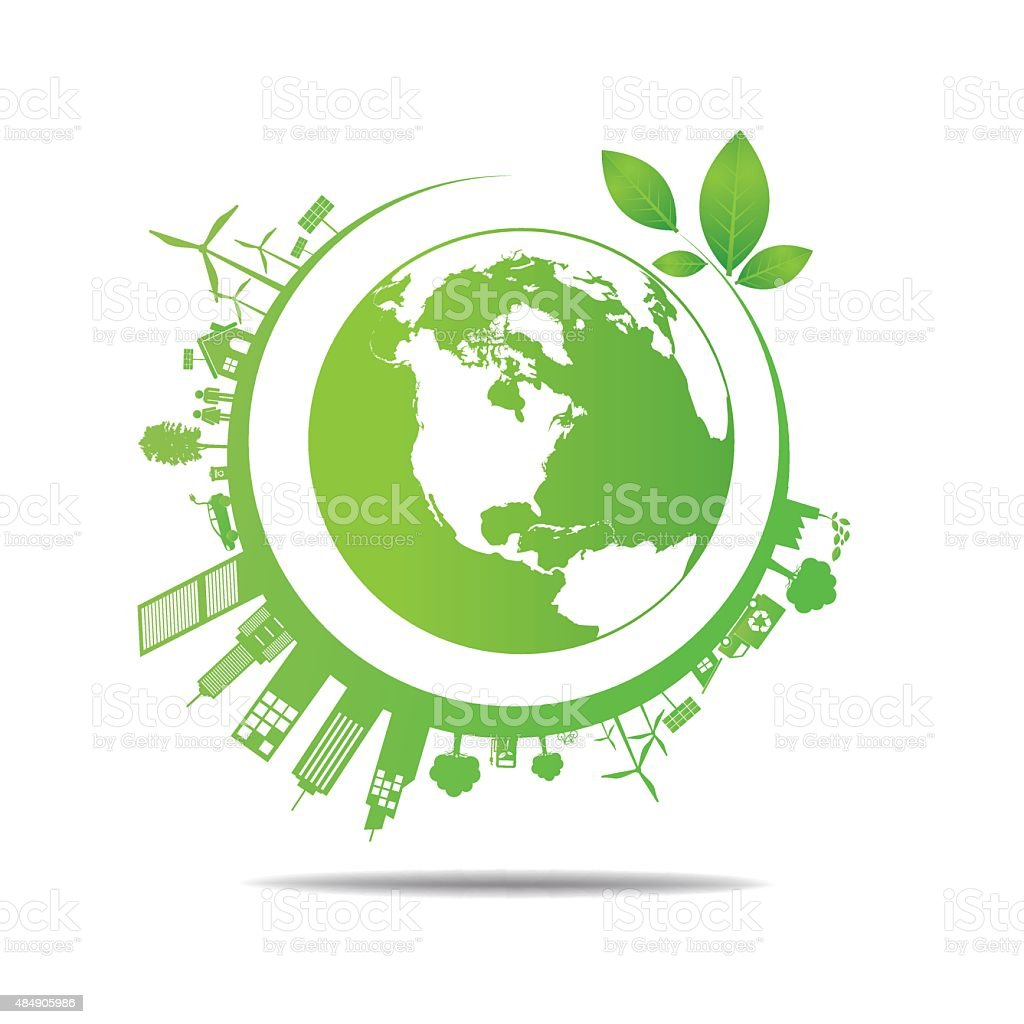 Ecology concept. save world vector art illustration