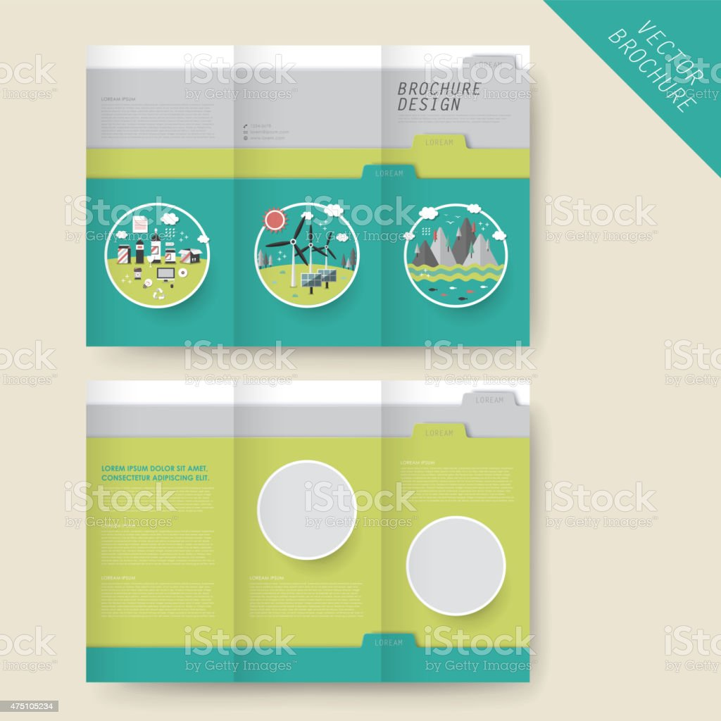 ecology concept tri fold brochure template royalty free ecology concept trifold brochure template stock