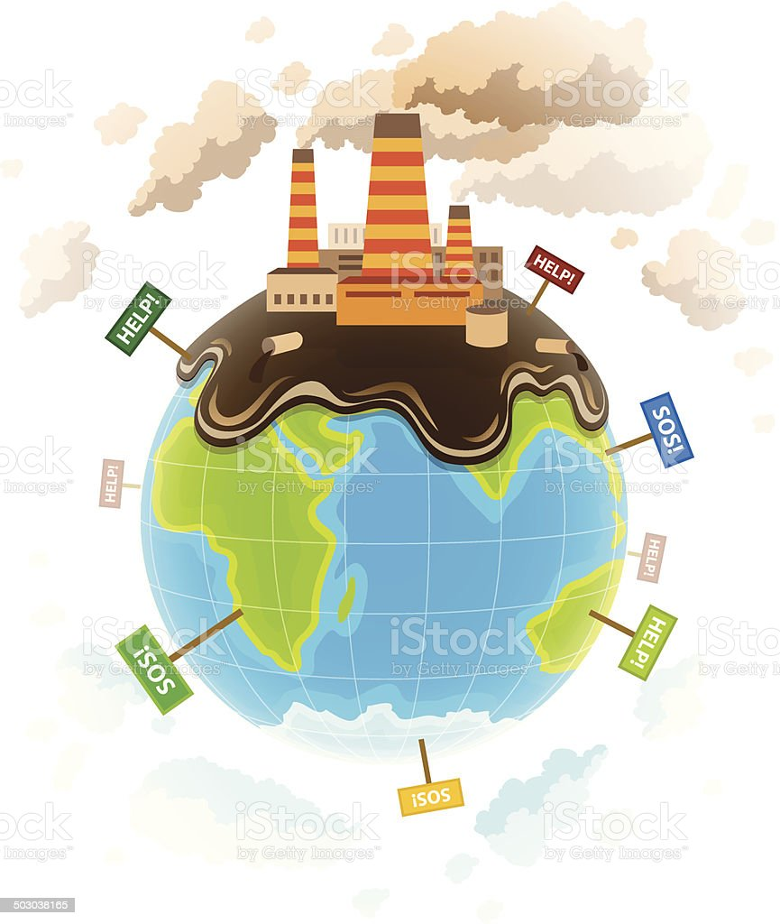 Ecology concept with dirty planet ecocatastrophe vector art illustration