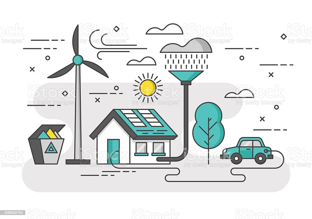 Ecology concept with eco friendy house and green energy. vector art illustration