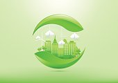 Ecology concept with green city and trees.