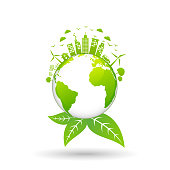 Ecology concept with green city on earth, World environment and sustainable development concept, vector illustration