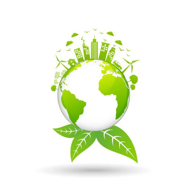 illustrations, cliparts, dessins animés et icônes de concept de l'écologie avec la ville verte sur la terre, de l'environnement mondial et de concept de développement durable - développement durable