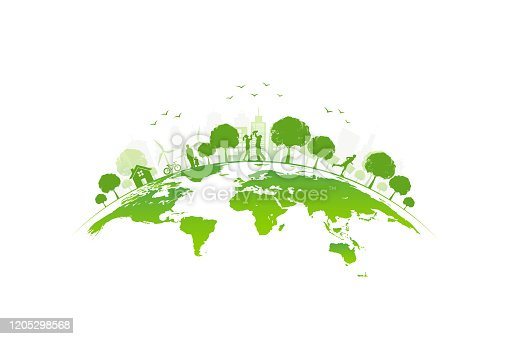 istock Ecology concept with green city on earth, World environment and sustainable development concept, vector illustration 1205298568