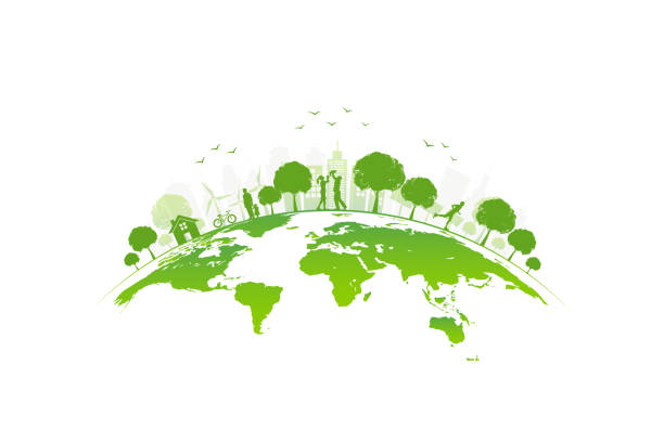 ilustrações de stock, clip art, desenhos animados e ícones de ecology concept with green city on earth, world environment and sustainable development concept, vector illustration - sustentabilidade