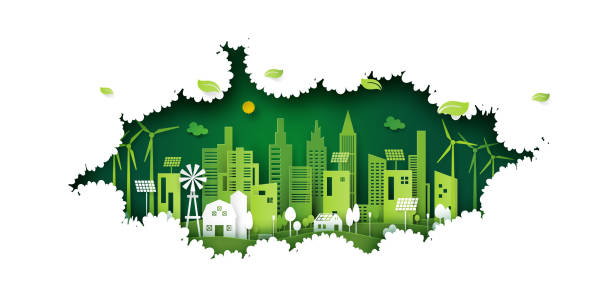 Ecology concept with green eco city on nature background. vector art illustration