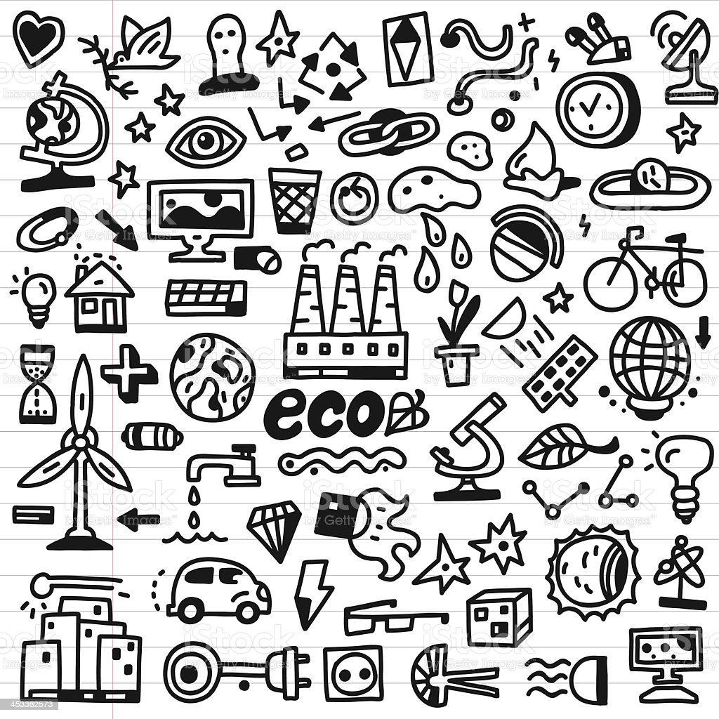 ecology - doodles set royalty-free stock vector art