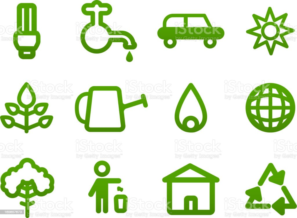 Ecology ecologic Green Conscious Planet Recycle icons royalty-free stock vector art