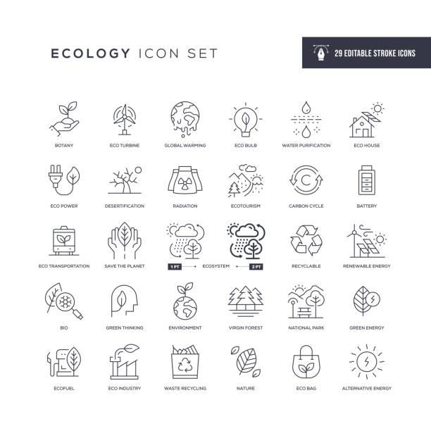 illustrazioni stock, clip art, cartoni animati e icone di tendenza di ecology editable stroke line icons - sustainability icons
